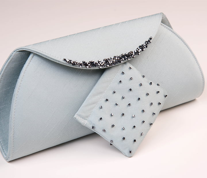 Pale Blue Beaded Clutch